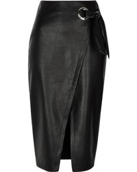River Island - Black Faux Leather Wrap Tie-up Pencil Skirt Black Faux Leather Wrap Tie-up Pencil Skirt - Lyst