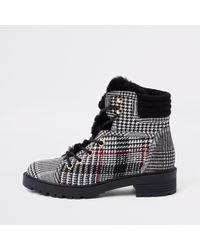 River Island - Check Faux Fur Tongue Hikng Boots - Lyst