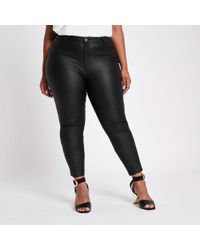 River Island - Plus Coated Skinny Jeans - Lyst