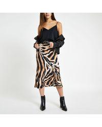 River Island - Petite Beige Zebra Print Midi Skirt - Lyst
