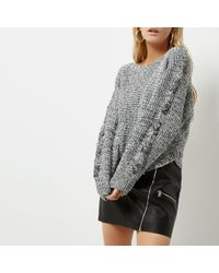 River Island - Petite Grey Cross Stitch Sleeve Knit Jumper - Lyst