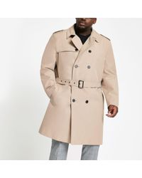 River Island - Stone Double Breasted Smart Belted Mac - Lyst
