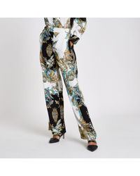 River Island - Cream Baroque Wide Leg Pyjama Trousers - Lyst