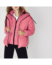 River Island - Pink Double Layer Hooded Puffer Jacket - Lyst