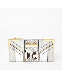 River Island Grey Snake Print Cutabout Fold Out Purse - Gray