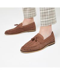 7e650508762809 River Island Dark Brown Leather Tassel Loafers in Brown for Men - Lyst