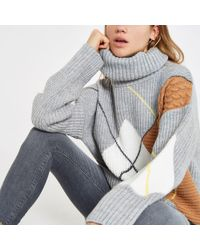 River Island - Grey Argyle Roll Neck Knit Jumper - Lyst