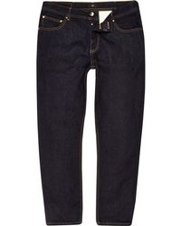 River Island - Dark Blue Rinse Jimmy Tapered Jeans - Lyst