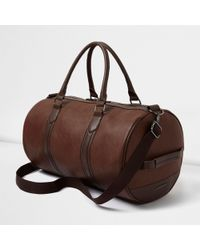 River Island - Tan Faux Leather Holdall - Lyst