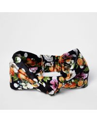 River Island - Black Orange Fruit Knot Front Headband - Lyst