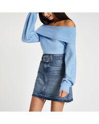 River Island - Belted Denim Mini Skirt - Lyst