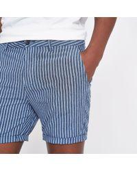 River Island - Blue Stripe Linen Slim Fit Chino Shorts - Lyst