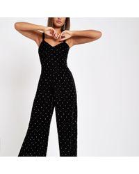 River Island - Velvet Studded Wide Leg Jumpsuit - Lyst