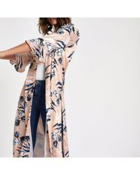River Island - Pink Floral Jacquard Flute Sleeve Duster Coat - Lyst