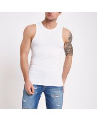 River Island - White Muscle Fit Vest Top - Lyst