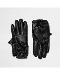 River Island - Black Leather Bow Driving Gloves - Lyst
