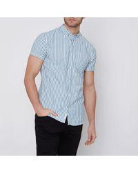 River Island - Green Stripe Muscle Fit Short Sleeve Shirt - Lyst