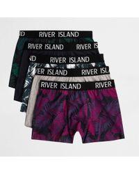 River Island - Green Palm Print Trunks Multipack Green Palm Print Trunks Multipack - Lyst
