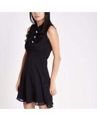 River Island - Black Diamante Button Occasion Mini Dress - Lyst
