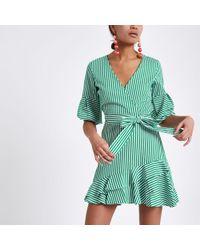 River Island - Green Stripe Frill Hem Tie Waist Dress Green Stripe Frill Hem Tie Waist Dress - Lyst