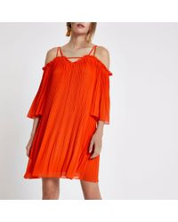 River Island - Red Plisse Chiffon Cold Shoulder Swing Dress - Lyst
