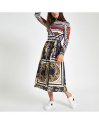 River Island - Plus Navy Baroque Pleated Skirt - Lyst