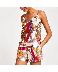 River Island Scarf Print Satin Pajama Short - Pink