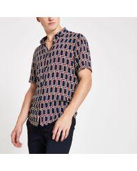 River Island - Big And Tall Geo Print Shirt - Lyst