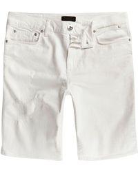 River Island | White Ripped Sid Skinny Denim Shorts White Ripped Sid Skinny Denim Shorts | Lyst