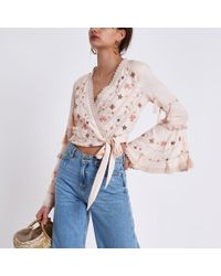 River Island - Pink Embroidered Crop Wrap Top - Lyst