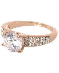 River Island - Rose Gold Tone Encrusted Gem Ring - Lyst