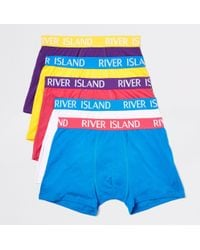 River Island - Bright Blue Ri Branded Trunks Multipack - Lyst