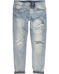 River Island | Mid Blue Fade Ripped Jimmy Slim Tapered Jeans | Lyst