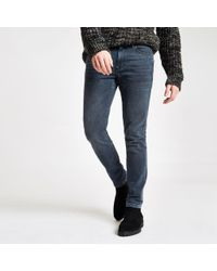 8f5dacba River Island Big And Tall Mid Blue Ripped Loose Fit Jeans in Blue ...