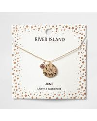 River Island | Light Purple June Birthstone Necklace | Lyst