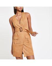 River Island - Light Brown Utility Mini Dress - Lyst