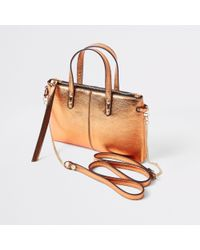 River Island - Rose Gold Metallic Leather Cross Body Bag - Lyst