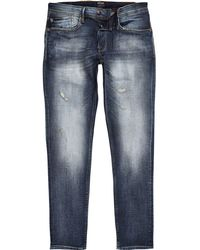 River Island - Pepe Jeans Blue Stanley Tapered Tinted Jeans - Lyst