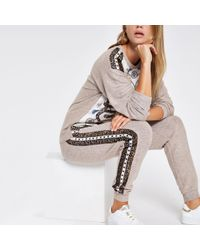 River Island - Beige Scarf Print Pyjama joggers - Lyst
