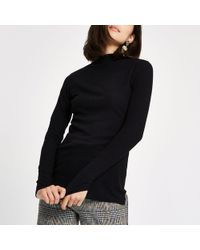 River Island - Brushed Rib High Neck Top - Lyst