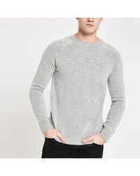 804dcb0b8 Lyst - River Island Muscle Fit Roll Neck Jumper In Light Grey in ...