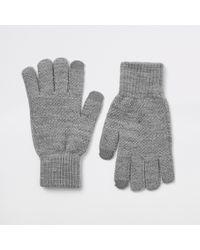River Island - Dark Grey Ribbed Cuff Gloves - Lyst