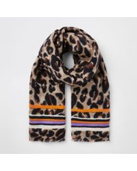 River Island - Leopard And Stripe Print Scarf - Lyst