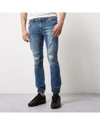River Island - Mid Blue Wash Ryan Jogger Jeans - Lyst