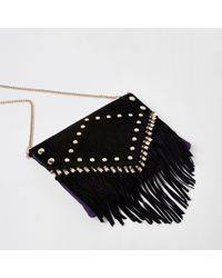 River Island - Black Leather Stud And Tassel Clutch Bag - Lyst