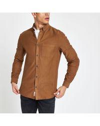 River Island - Lyocell Chest Pocket Slim Fit Shirt - Lyst