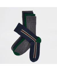River Island - Multicoloured Vertical Stripe Socks Multipack - Lyst