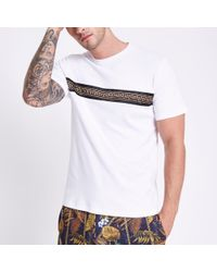 River Island - Slim Fit Chest Tape T-shirt - Lyst