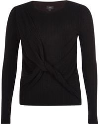 River Island - Black Ribbed Wrap Knot Front Knit Jumper - Lyst