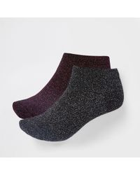 River Island - Metallic Stitch Sneaker Socks Multipack - Lyst